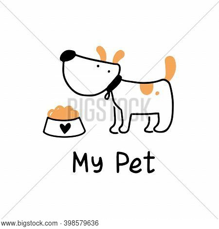Cute Puppy Dog Pet. Cartoon Dog Character Illustration For Icon, Logo, Poster, Banner Design. Funny