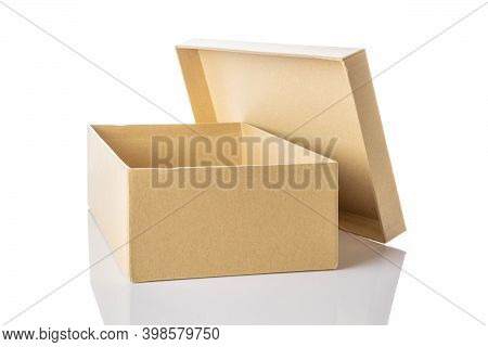 Brown Carton. Cardboard Box Package Isolated On White Background For Shipping Delivery. Carton Deliv