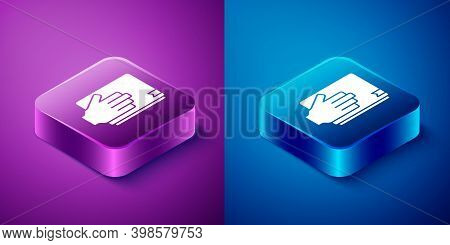 Isometric Oath On The Holy Bible Icon Isolated On Blue And Purple Background. The Procedure In Court