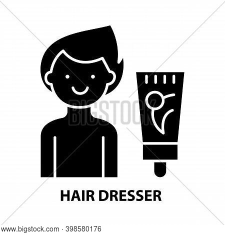 Hair Dresser Icon, Black Vector Sign With Editable Strokes, Concept Illustration