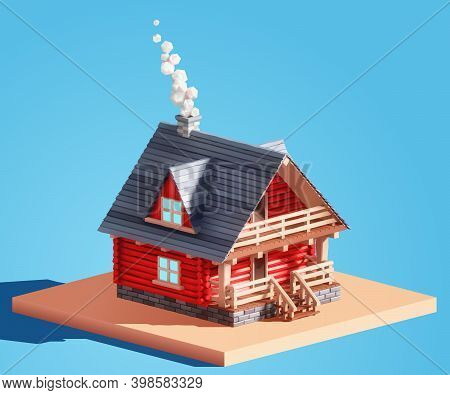 Realistic 3d Vector Log House, Log Cabin Or Country House. Two-story Wooden Cottage With A Porch, Te