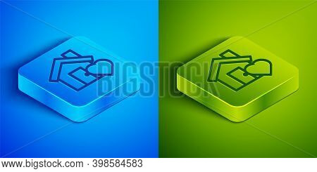 Isometric Line House With Heart Shape Icon Isolated On Blue And Green Background. Love Home Symbol.