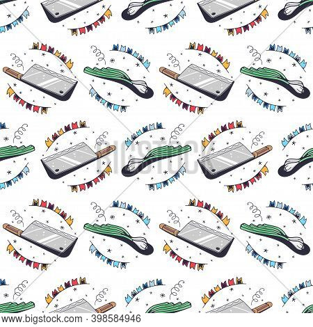 Cleaver And Green Onions. Seamless Pattern On A White Background. Cute Vector Illustration.
