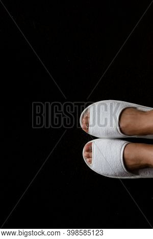 Bride Feet In Slippers. Wedding Day Slippers On Bride. Slippers On Women's Legs. Soft Comfortable Ho