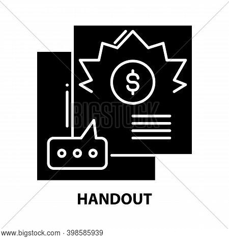 Handout Icon, Black Vector Sign With Editable Strokes, Concept Illustration