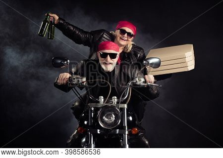 Photo Of Cool Old Bikers White Hair Man Lady Couple Drive Chopper Moto Travel Pensioners Party Bring