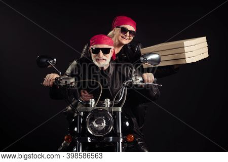 Photo Of Two Cool Old Bikers White Hair Man Lady Couple Drive Vintage Chopper Travel Festival Bring