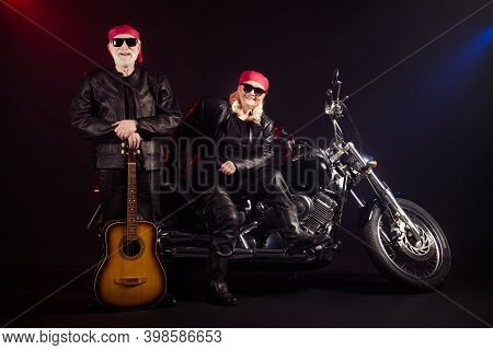 Full Length Photo Of Old Two Cool Bikers Man Lady Sit Chopper Rock Festival Play Guitar Famous Popul