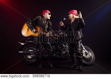 Full Body Photo Of Aged Cool Bikers Man Lady Couple Chopper Moto Rock Festival Play Guitar Sing Famo