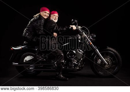 Full Size Profile Photo Of Aged Bikers Grey Hair Man Lady Married Couple Drive Speed Vintage Chopper