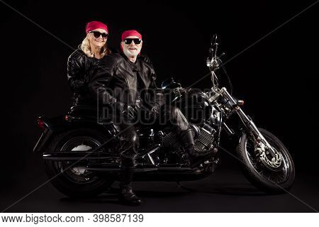Photo Of Aged Bikers Grey Haired Man Lady Soulmates Couple Sit Vintage Chopper Feel Young Go Rock Fe