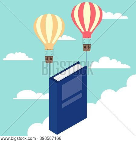 The Balloons Pull The Book Upward With Them. Vector, Cartoon Illustration. Vector.