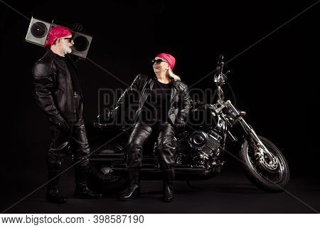 Photo Of Two Old Bikers Grey Haired Man Lady Couple Moto Chopper Feel Young Rock Festival Vintage Ta