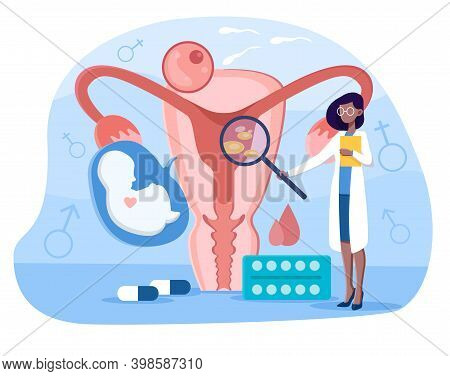 Female Doctor Making Uterus Examination. Abstract Concept Of Gynecology And Female Health. Woman Usi