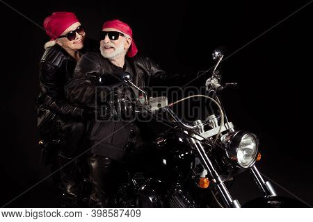 Photo Of Aged Bikers Grey Haired Man Lady Couple Drive Vintage Chopper Moto Traveling Retired Feel Y