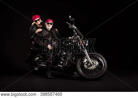 Photo Of Aged Bikers Grey Haired Man Lady Soulmates Married Couple Drive Vintage Chopper To Stars To