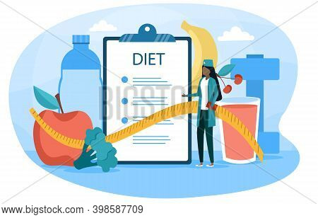 Female Nutritionist Making A Diet List. Diet Plan With Healthy Food And Physical Activity To Lose We