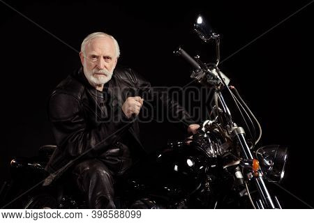 Portrait Of His He Nice Old Serious Grey-haired Dude Hipster Rocker Punk Traveler Sitting On Chopper