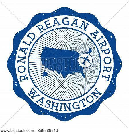 Ronald Reagan Airport Washington Stamp. Airport Of Washington Round Logo With Location On United Sta