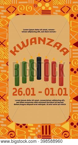 Flyer, Event Invitation Template For Kwanzaa - Weeklong Celebration In Usa That Honors African Herit