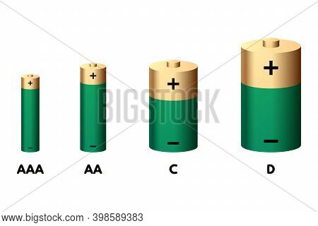 Green Battery Set Vector Illustration. Aaa, Aa, D And D Size.