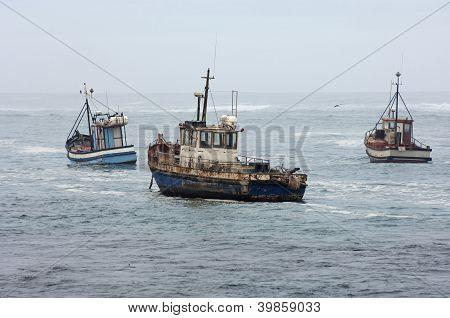 Fishing vessels at sea
