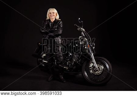 Portrait Of Her She Nice Attractive Lovely Content Cheerful Cheery Grey-haired Lady Revel Rocker Cho