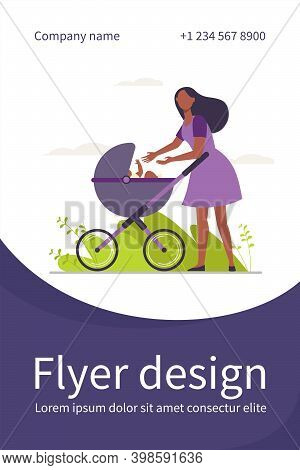 New Mom Walking With Baby Outside. Woman Reaching Arms To Stroller With Kid Flat Vector Illustration