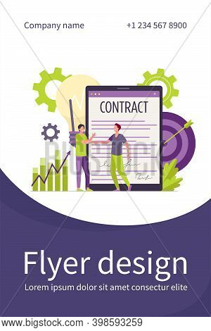 Businessmen Signing Contract With Electronic Signature Flat Vector Illustration. Cartoon Partners Co