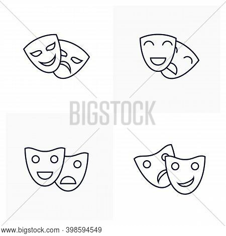 Set Of Acting For Movie Icon Logo Vector Template, Creative Movie Logo Concept, Icon Symbol, Illustr