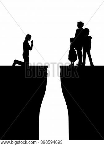Silhouettes Man Asks The Family For Forgiveness. They Are Divided By Chasm Because Of Alcohol. Illus