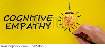 Cognitive Empathy Symbol. Male Hand With Black Pencil, Light Bulb Icon. Words 'cognitive Empathy'. B