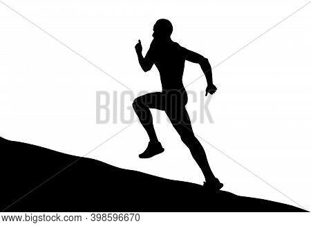 Black Silhouette Male Runner Running Uphill On White Background