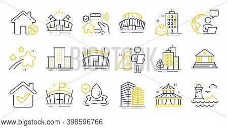 Set Of Buildings Icons, Such As Buildings, Loan House, Skyscraper Buildings Symbols. Flood Insurance