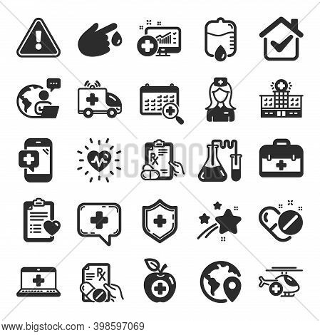 Medical Rx Icons. Hospital Assistance, Ambulance, Health Food Diet, Laboratory Tubes Icons. First Ai