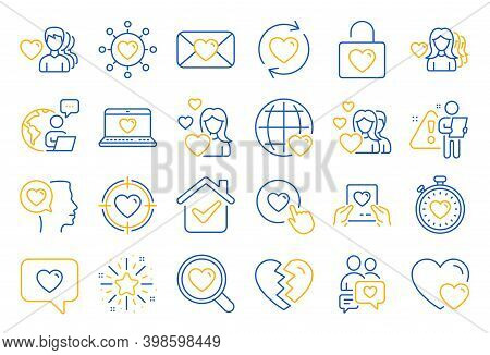 Love Line Icons. Couple, Romantic And Heart Icons. Valentines Day Love Symbols. Divorce Or Break Up