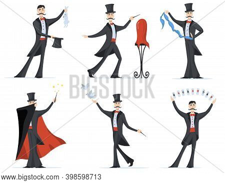 Stylish Magician Showing Magic Tricks Flat Set For Web Design. Cartoon Illusionist In Cylinder Hat A