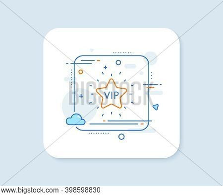 Vip Line Icon. Abstract Square Vector Button. Very Important Person Star Sign. Member Club Privilege