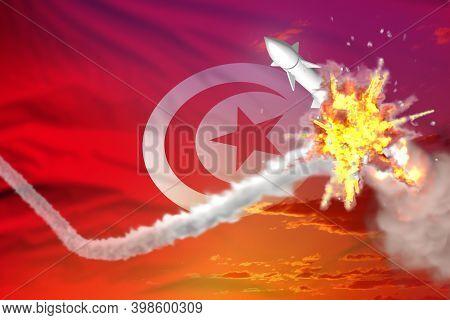 Tunisia Intercepted Ballistic Warhead, Modern Antirocket Destroys Enemy Missile Concept, Military In