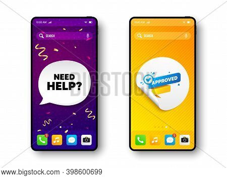 Approved Paper Banner. Phone Mockup Vector Confetti Banner. Permission Quality Tag. Check Guarantee