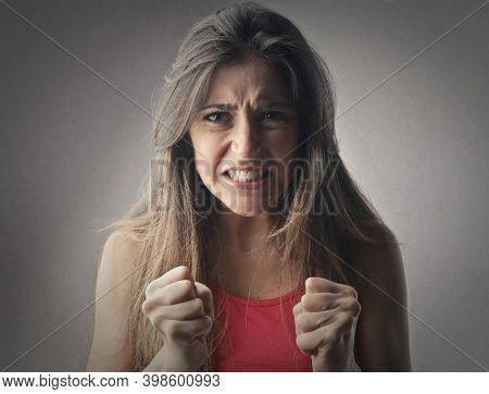 portrait of angry young woman
