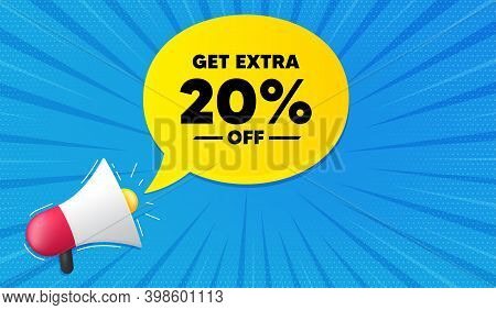 Get Extra 20 Percent Off Sale. Background With Megaphone. Discount Offer Price Sign. Special Offer S