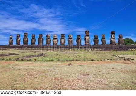 Rapa Nui. The Statue Moai In Ahu Tongariki On Easter Island, Chile
