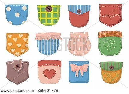 Variety Of Colorful Patch Pockets Flat Item Set. Cartoon Pockets With Seams, Buttons And Flaps For S