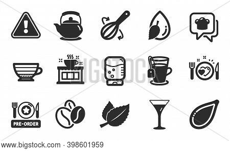 Water Cooler, Water Drop And Coffee Beans Icons Simple Set. Cooking Hat, Cappuccino And Pre-order Fo