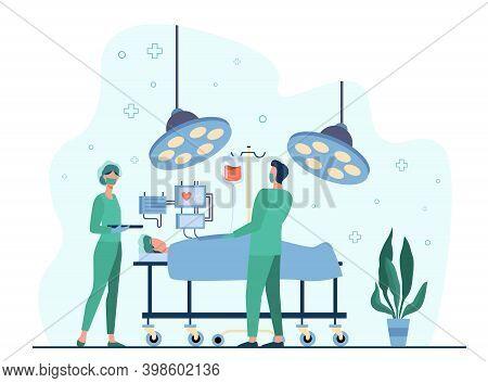 Professional Surgeons Surrounding Patient On Operation Table Flat Vector Illustration. Cartoon Medic