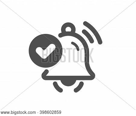 Notification Received Icon. Selected Reminder Sign. Alarm Bell Symbol. Quality Design Element. Flat