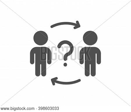 Delegate Question Icon. Teamwork Help Sign. Employee Share Symbol. Quality Design Element. Flat Styl
