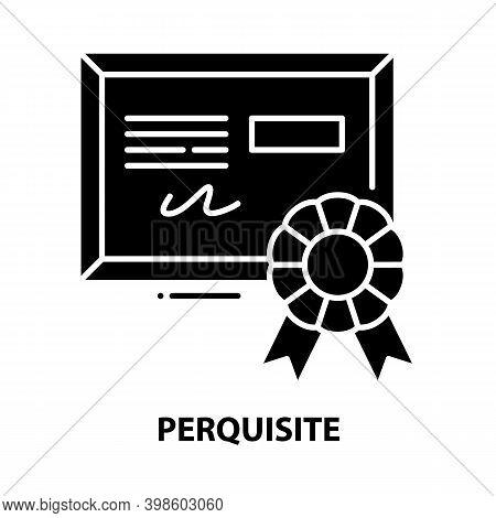 Perquisite Icon, Black Vector Sign With Editable Strokes, Concept Illustration