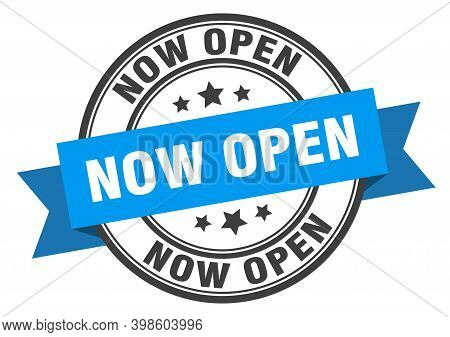 Now Open Label Sign. Round Stamp. Band. Ribbon